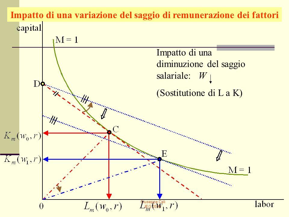 Giuseppe Celi IEG 2006 Impatto di una variazione del saggio di remunerazione dei fattori Impatto di una diminuzione del saggio salariale: W (Sostituti