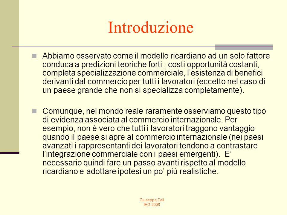 Giuseppe Celi IEG 2006 Introduzione Abbiamo osservato come il modello ricardiano ad un solo fattore conduca a predizioni teoriche forti : costi opport