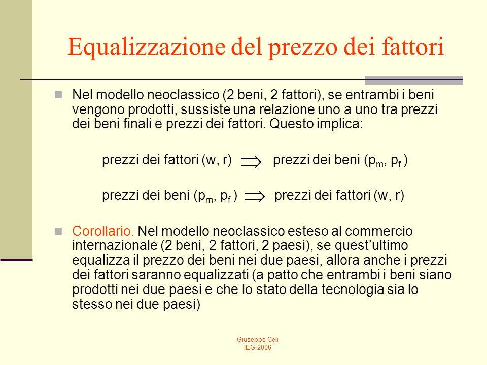 Giuseppe Celi IEG 2006 Equalizzazione del prezzo dei fattori Nel modello neoclassico (2 beni, 2 fattori), se entrambi i beni vengono prodotti, sussist