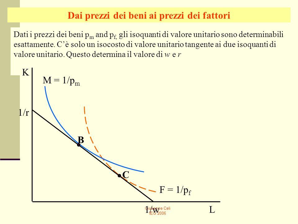 Giuseppe Celi IEG 2006 Dati i prezzi dei beni p m and p f, gli isoquanti di valore unitario sono determinabili esattamente. Cè solo un isocosto di val