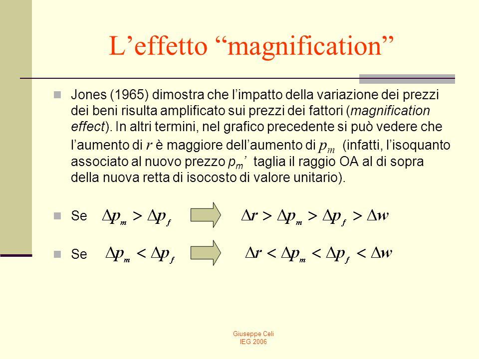 Giuseppe Celi IEG 2006 Leffetto magnification Jones (1965) dimostra che limpatto della variazione dei prezzi dei beni risulta amplificato sui prezzi d