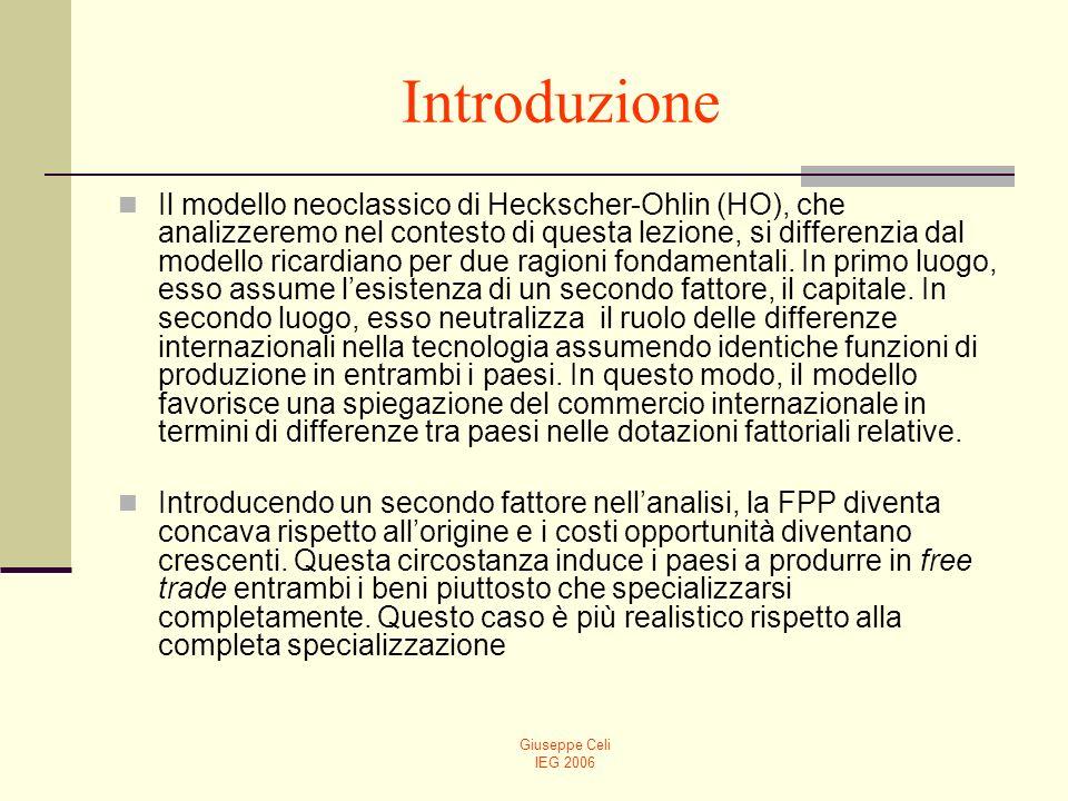 Giuseppe Celi IEG 2006 Introduzione Il modello neoclassico di Heckscher-Ohlin (HO), che analizzeremo nel contesto di questa lezione, si differenzia da