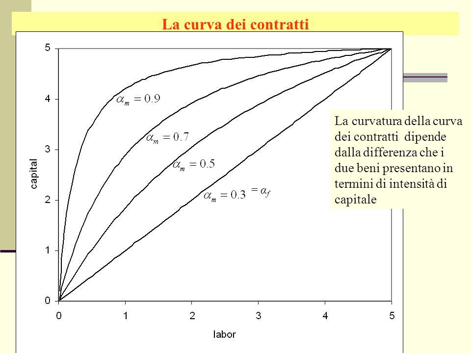 Giuseppe Celi IEG 2006 La curva dei contratti La curvatura della curva dei contratti dipende dalla differenza che i due beni presentano in termini di