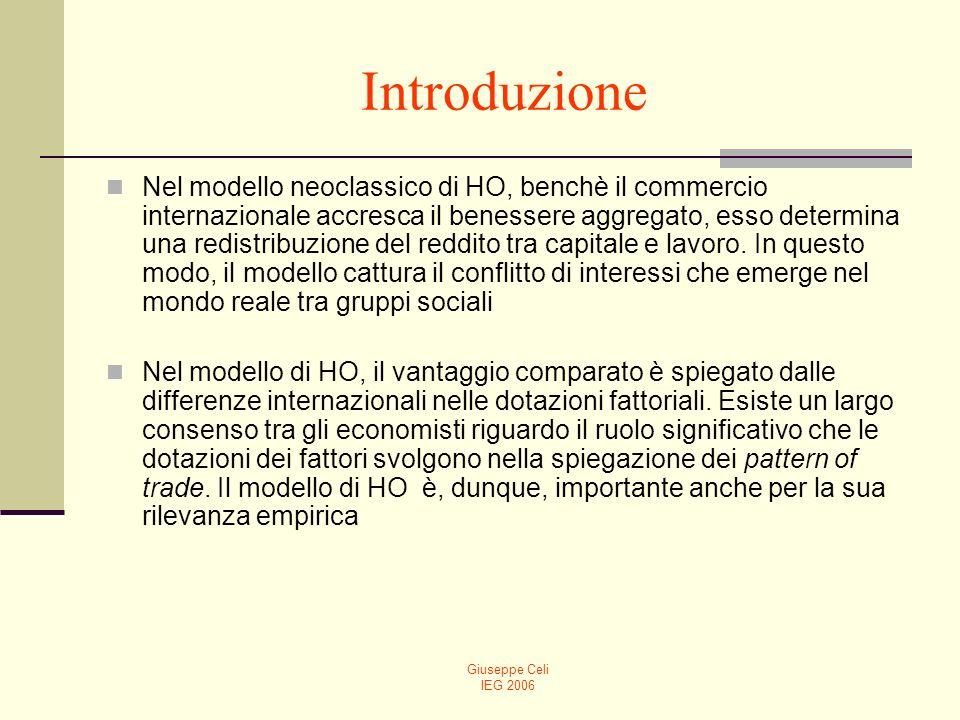 Giuseppe Celi IEG 2006 Introduzione Nel modello neoclassico di HO, benchè il commercio internazionale accresca il benessere aggregato, esso determina
