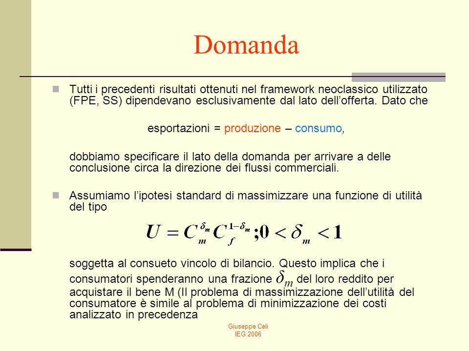 Giuseppe Celi IEG 2006 Domanda Tutti i precedenti risultati ottenuti nel framework neoclassico utilizzato (FPE, SS) dipendevano esclusivamente dal lat