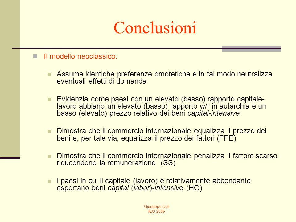 Giuseppe Celi IEG 2006 Conclusioni Il modello neoclassico: Assume identiche preferenze omotetiche e in tal modo neutralizza eventuali effetti di doman