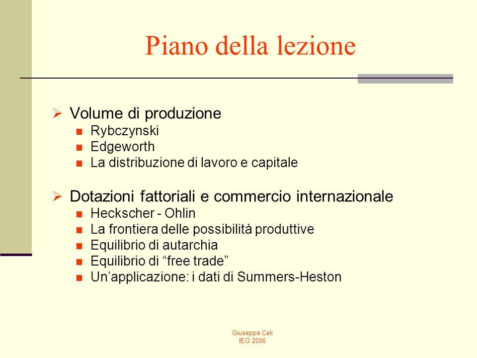 Giuseppe Celi IEG 2006 Piano della lezione Volume di produzione Rybczynski Edgeworth La distribuzione di lavoro e capitale Dotazioni fattoriali e comm