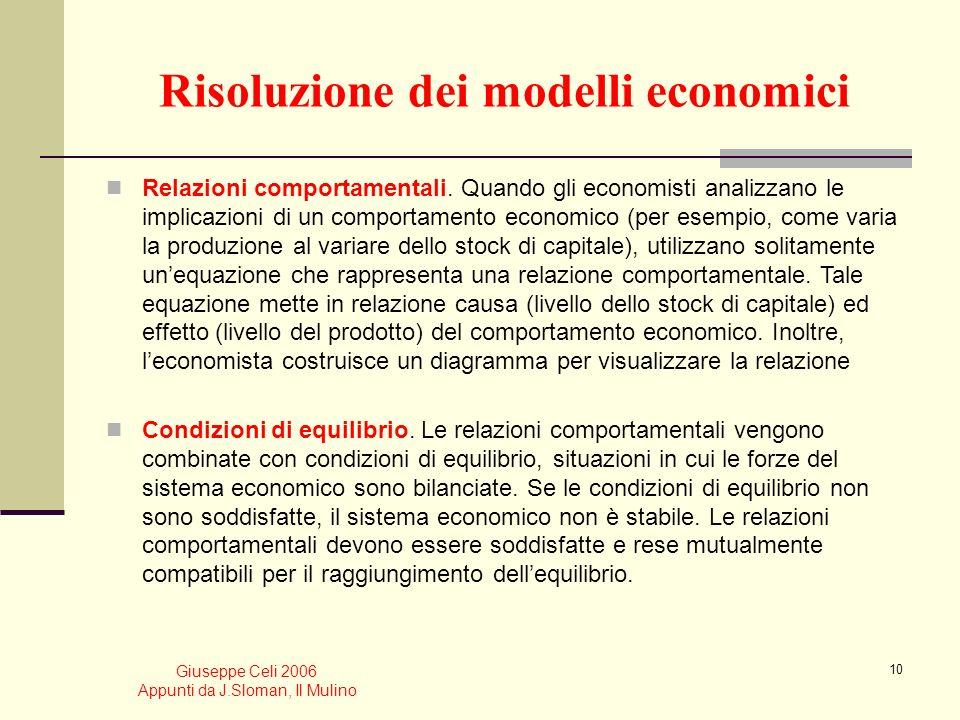 Giuseppe Celi 2006 Appunti da J.Sloman, Il Mulino 9 Sul metodo delleconomia: lutilizzo dei modelli Nonostante gli elementi di complicazione rappresent