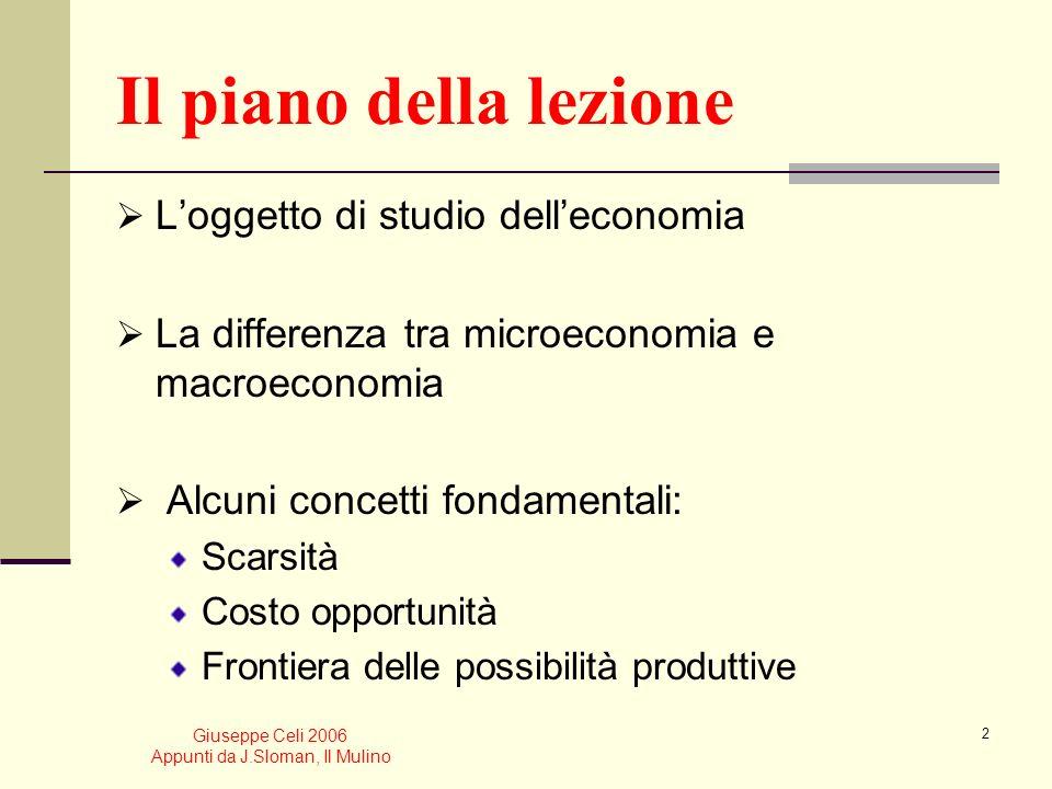 Giuseppe Celi 2006 Appunti da J.Sloman, Il Mulino 12 Produzione di equilibrio per lavoratore