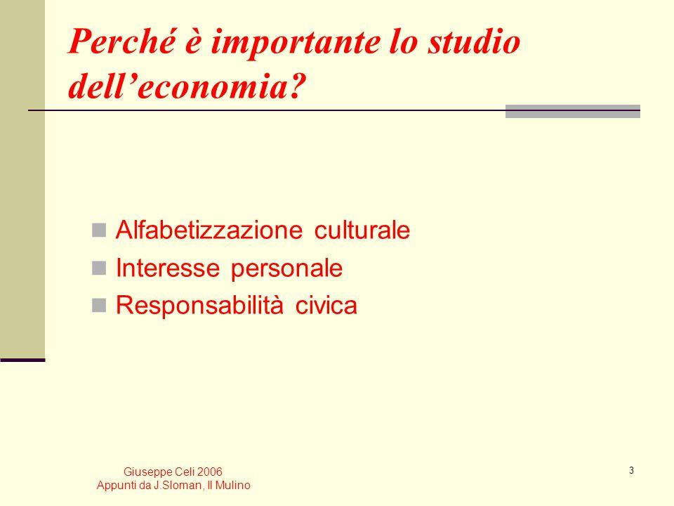 Giuseppe Celi 2006 Appunti da J.Sloman, Il Mulino 2 Il piano della lezione Loggetto di studio delleconomia La differenza tra microeconomia e macroecon