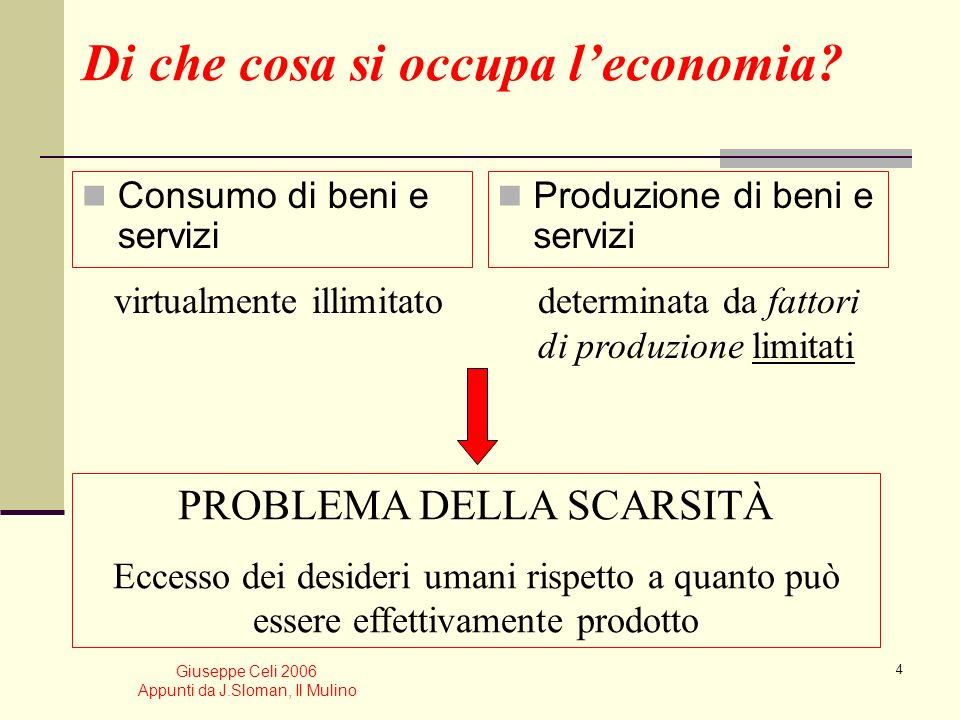 Giuseppe Celi 2006 Appunti da J.Sloman, Il Mulino 3 Perché è importante lo studio delleconomia? Alfabetizzazione culturale Interesse personale Respons