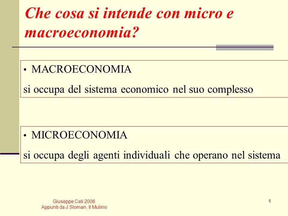 Giuseppe Celi 2006 Appunti da J.Sloman, Il Mulino 6 Che cosa si intende con micro e macroeconomia.