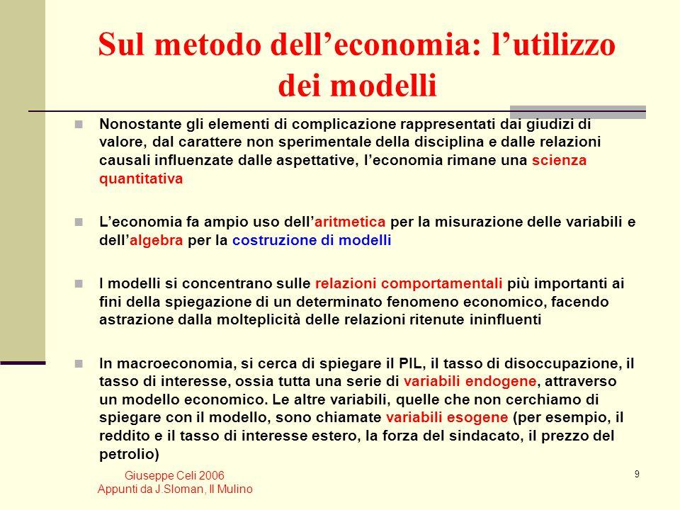 Giuseppe Celi 2006 Appunti da J.Sloman, Il Mulino 19 Frontiera delle possibilità produttive È la curva che mostra tutte le combinazioni di beni che è possibile produrre quando le risorse del paese sono utilizzate in modo efficiente