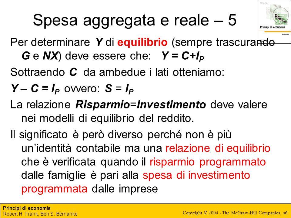 Principi di economia Robert H. Frank, Ben S. Bernanke Copyright © 2004 - The McGraw-Hill Companies, srl Spesa aggregata e reale – 5 Per determinare Y