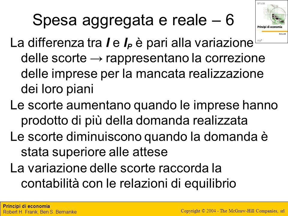 Principi di economia Robert H. Frank, Ben S. Bernanke Copyright © 2004 - The McGraw-Hill Companies, srl Spesa aggregata e reale – 6 La differenza tra