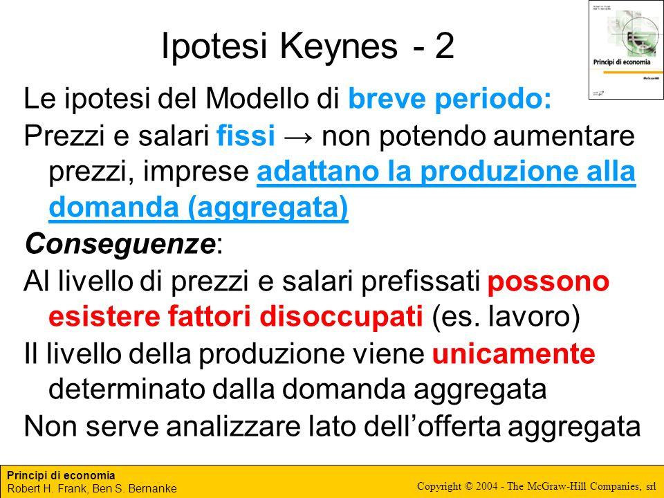 Principi di economia Robert H. Frank, Ben S. Bernanke Copyright © 2004 - The McGraw-Hill Companies, srl Ipotesi Keynes - 2 Le ipotesi del Modello di b
