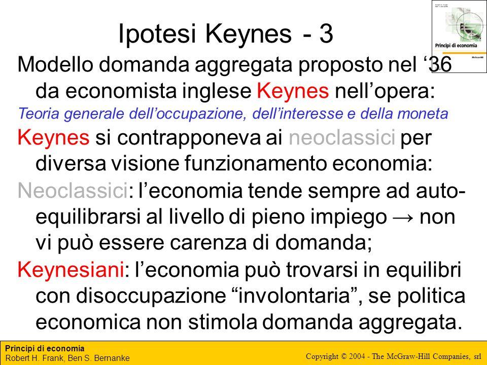 Principi di economia Robert H. Frank, Ben S. Bernanke Copyright © 2004 - The McGraw-Hill Companies, srl Ipotesi Keynes - 3 Modello domanda aggregata p
