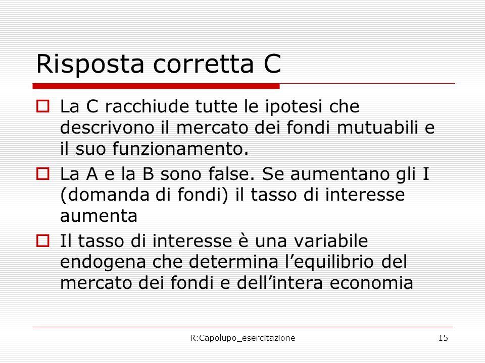 R:Capolupo_esercitazione15 Risposta corretta C La C racchiude tutte le ipotesi che descrivono il mercato dei fondi mutuabili e il suo funzionamento.