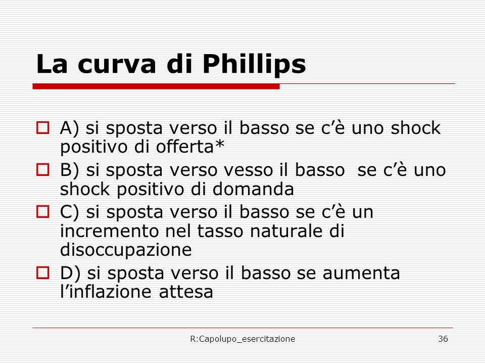 R:Capolupo_esercitazione36 La curva di Phillips A) si sposta verso il basso se cè uno shock positivo di offerta* B) si sposta verso vesso il basso se