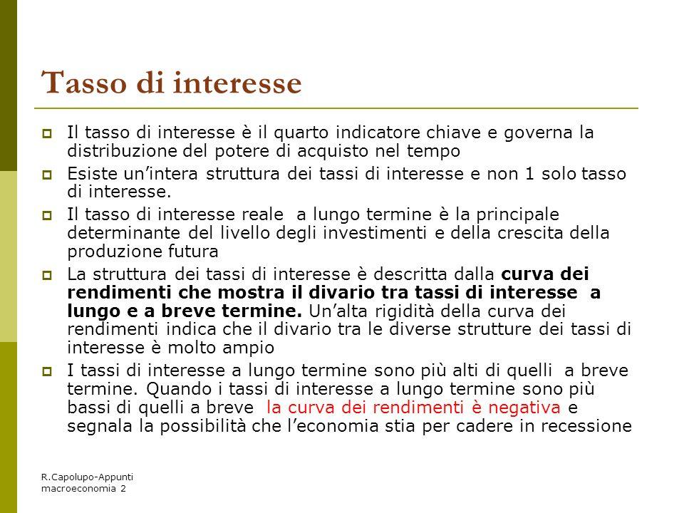 R.Capolupo-Appunti macroeconomia 2 Tasso di interesse Il tasso di interesse è il quarto indicatore chiave e governa la distribuzione del potere di acq