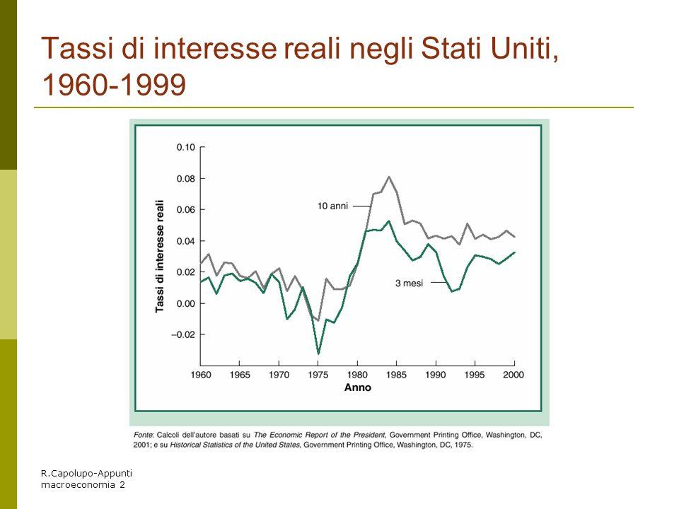 R.Capolupo-Appunti macroeconomia 2 Tassi di interesse reali negli Stati Uniti, 1960-1999
