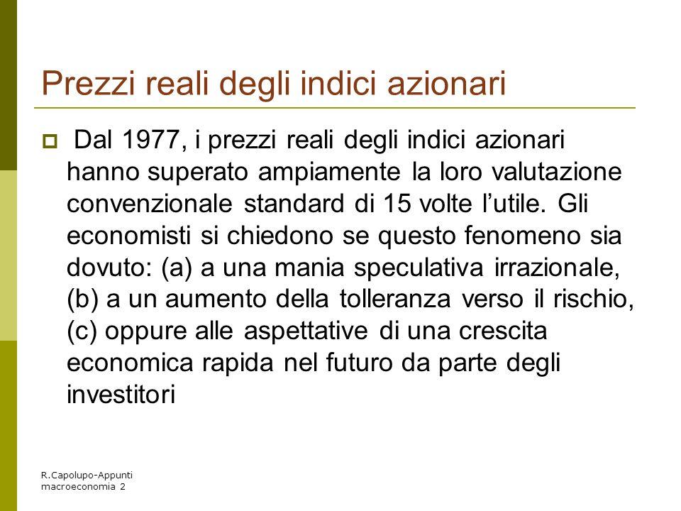 R.Capolupo-Appunti macroeconomia 2 Prezzi reali degli indici azionari Dal 1977, i prezzi reali degli indici azionari hanno superato ampiamente la loro