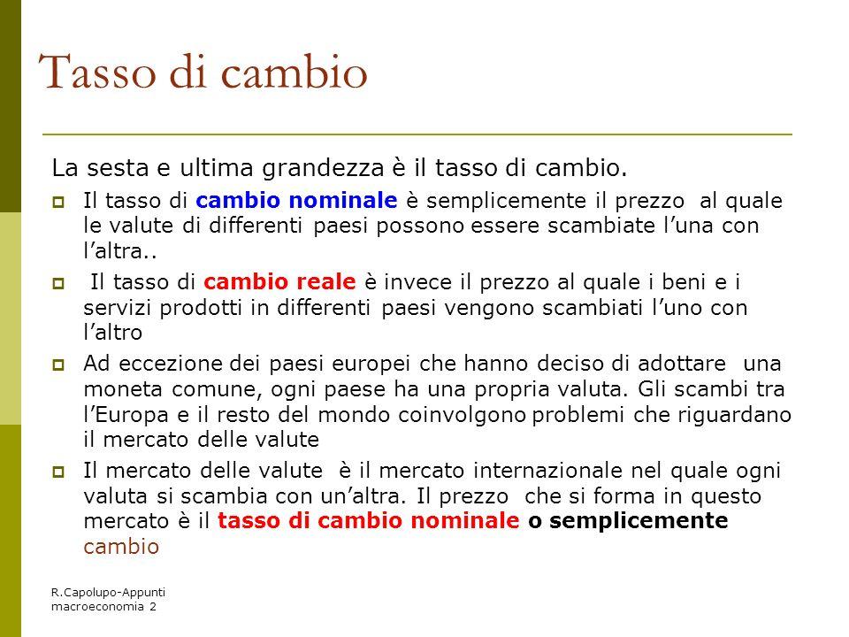 R.Capolupo-Appunti macroeconomia 2 Tasso di cambio La sesta e ultima grandezza è il tasso di cambio. Il tasso di cambio nominale è semplicemente il pr