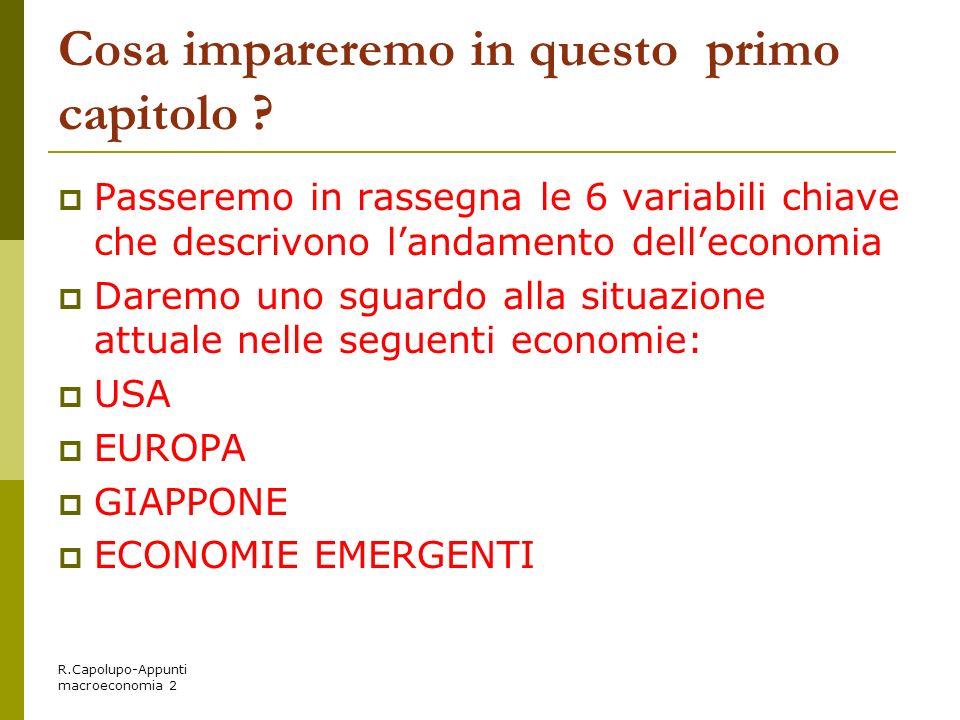 R.Capolupo-Appunti macroeconomia 2 Cosa impareremo in questo primo capitolo ? Passeremo in rassegna le 6 variabili chiave che descrivono landamento de