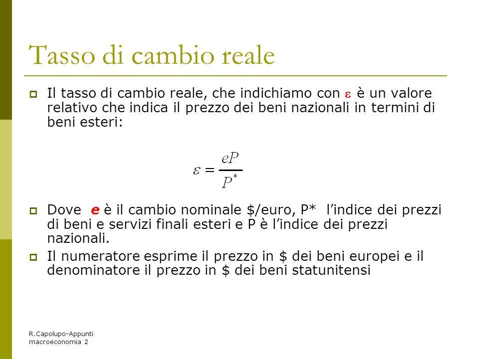 R.Capolupo-Appunti macroeconomia 2 Tasso di cambio reale Il tasso di cambio reale, che indichiamo con è un valore relativo che indica il prezzo dei be