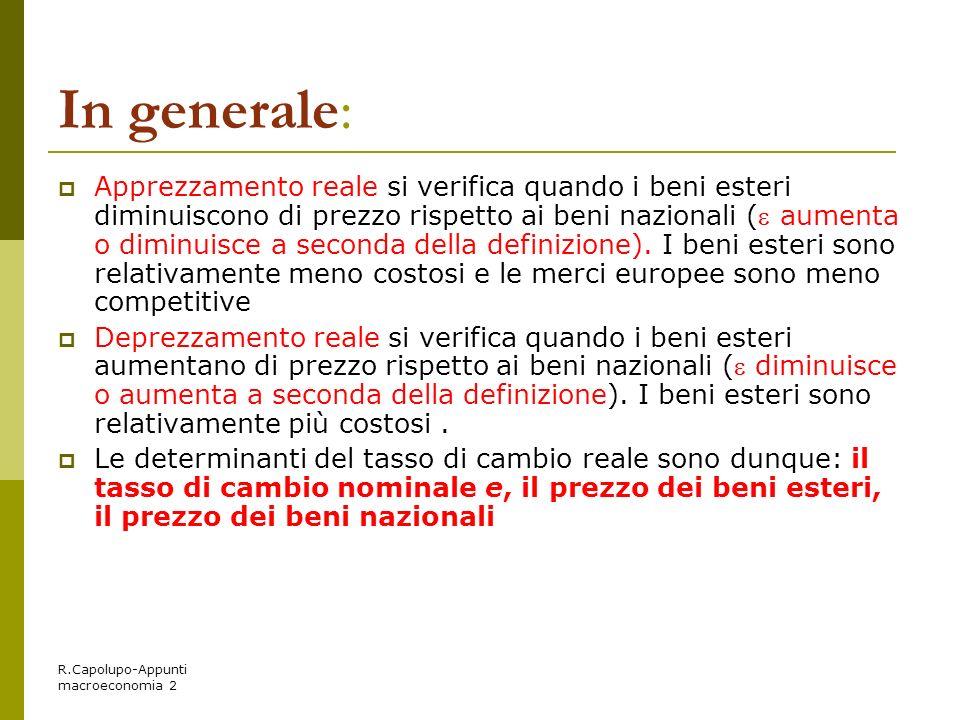 R.Capolupo-Appunti macroeconomia 2 In generale: Apprezzamento reale si verifica quando i beni esteri diminuiscono di prezzo rispetto ai beni nazionali
