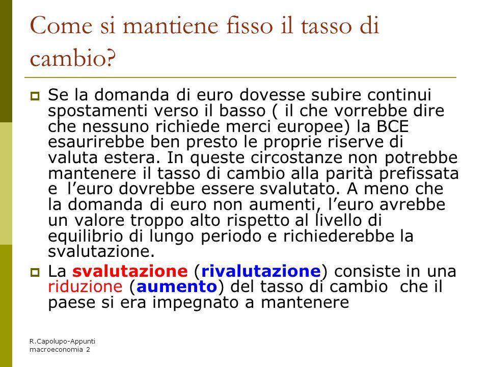 R.Capolupo-Appunti macroeconomia 2 Come si mantiene fisso il tasso di cambio? Se la domanda di euro dovesse subire continui spostamenti verso il basso