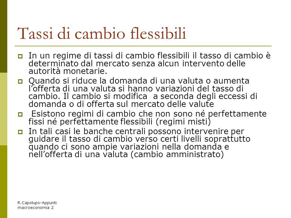 R.Capolupo-Appunti macroeconomia 2 Tassi di cambio flessibili In un regime di tassi di cambio flessibili il tasso di cambio è determinato dal mercato