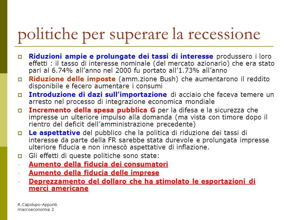 R.Capolupo-Appunti macroeconomia 2 politiche per superare la recessione Riduzioni ampie e prolungate dei tassi di interesse produssero i loro effetti