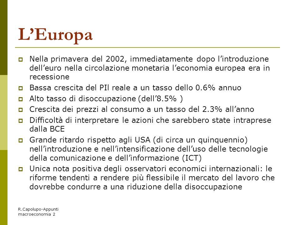 R.Capolupo-Appunti macroeconomia 2 LEuropa Nella primavera del 2002, immediatamente dopo lintroduzione delleuro nella circolazione monetaria leconomia