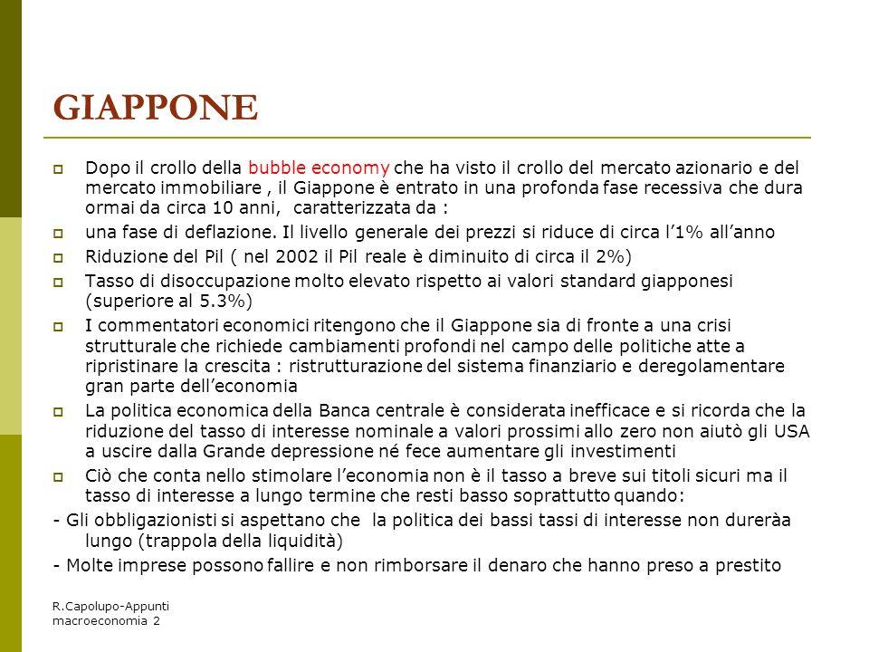 R.Capolupo-Appunti macroeconomia 2 GIAPPONE Dopo il crollo della bubble economy che ha visto il crollo del mercato azionario e del mercato immobiliare