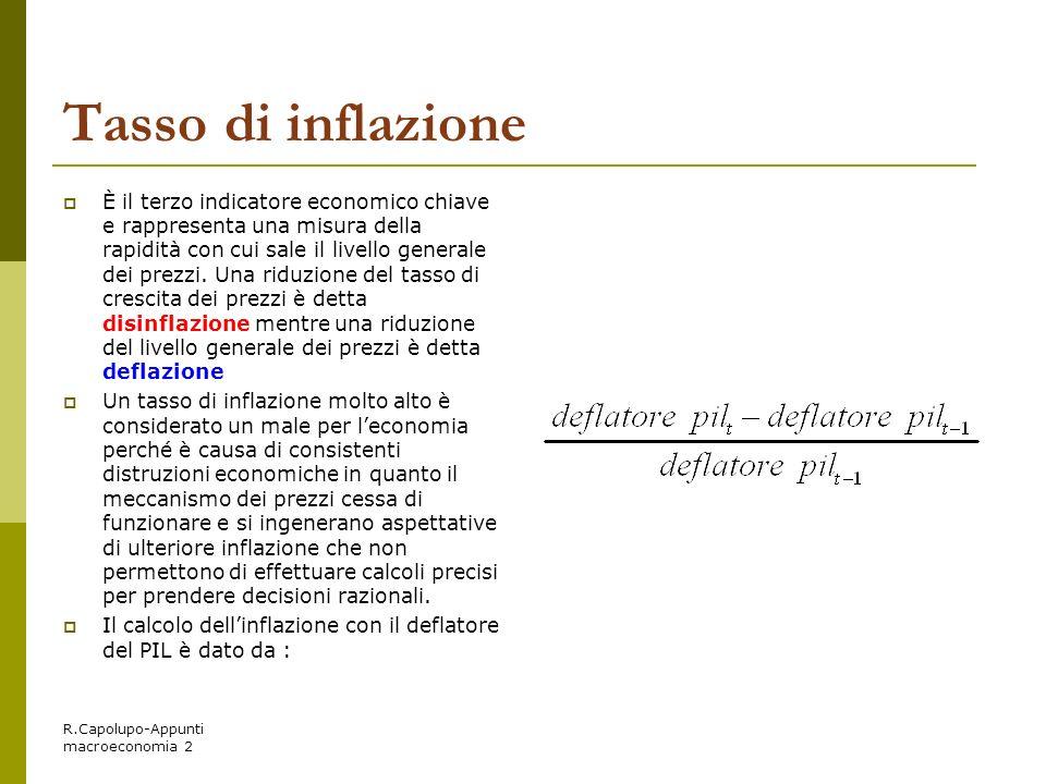 R.Capolupo-Appunti macroeconomia 2 Tasso di inflazione È il terzo indicatore economico chiave e rappresenta una misura della rapidità con cui sale il