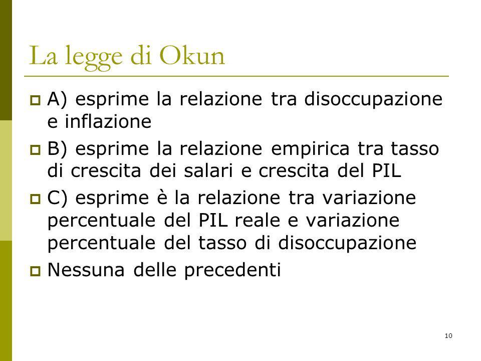 10 La legge di Okun A) esprime la relazione tra disoccupazione e inflazione B) esprime la relazione empirica tra tasso di crescita dei salari e cresci