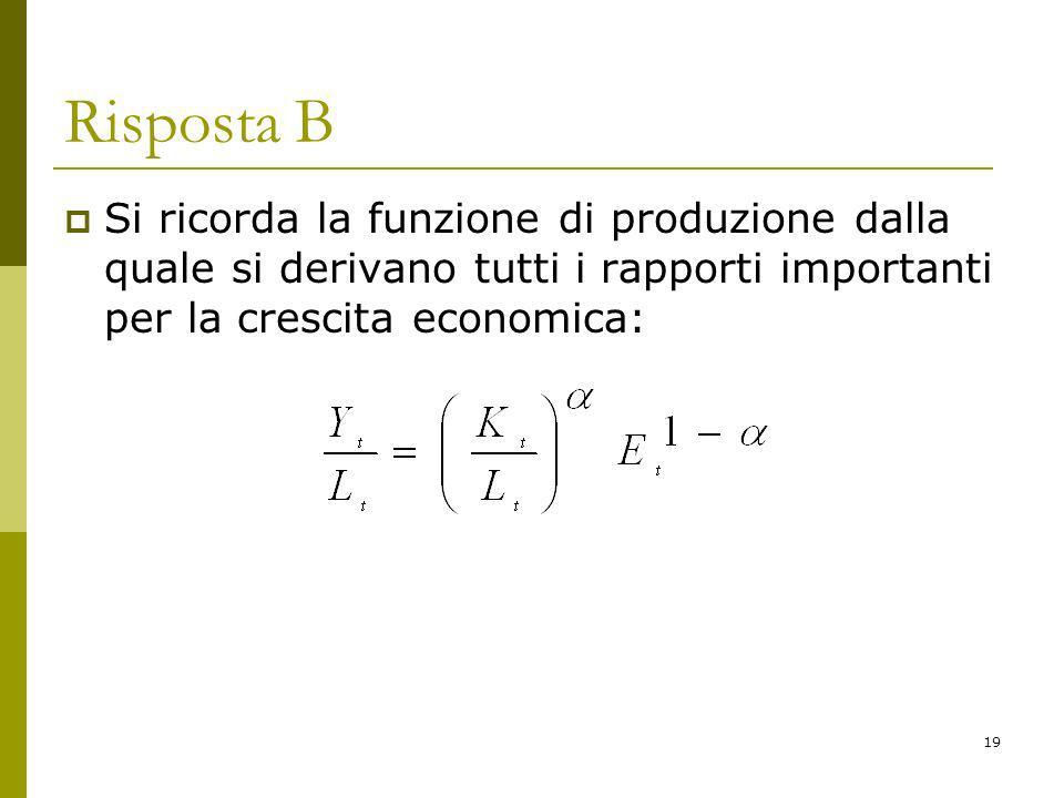 19 Risposta B Si ricorda la funzione di produzione dalla quale si derivano tutti i rapporti importanti per la crescita economica: