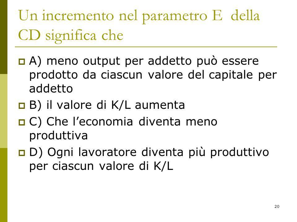 20 Un incremento nel parametro E della CD significa che A) meno output per addetto può essere prodotto da ciascun valore del capitale per addetto B) il valore di K/L aumenta C) Che leconomia diventa meno produttiva D) Ogni lavoratore diventa più produttivo per ciascun valore di K/L