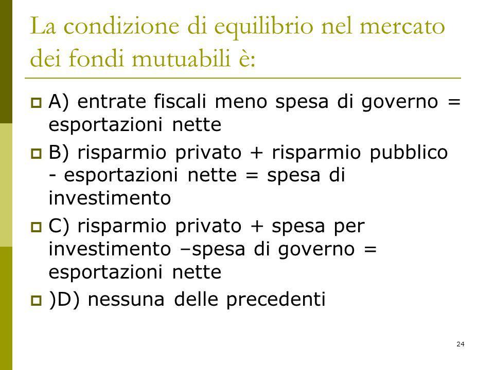 24 La condizione di equilibrio nel mercato dei fondi mutuabili è: A) entrate fiscali meno spesa di governo = esportazioni nette B) risparmio privato +