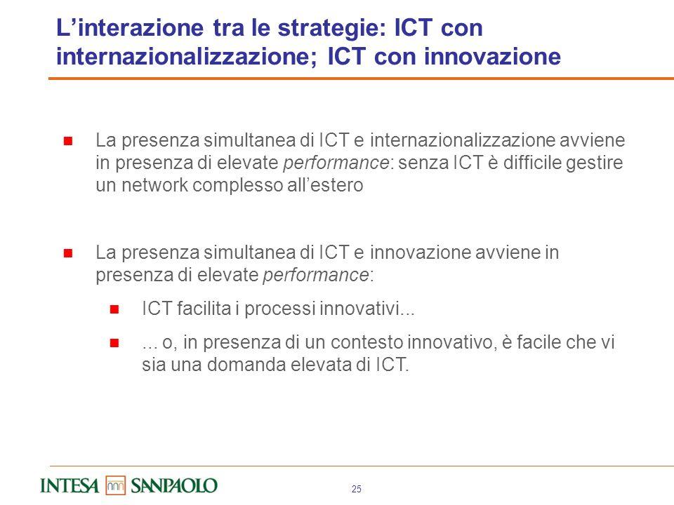 24 Serve però un mix completo delle strategie Dallesame dei casi emerge che le imprese vincenti hanno spesso un mix articolato di strategie Innovano e
