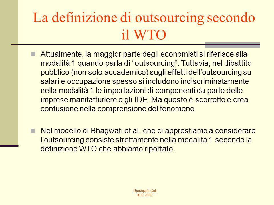 Giuseppe Celi IEG 2007 La definizione di outsourcing secondo il WTO Attualmente, la maggior parte degli economisti si riferisce alla modalità 1 quando parla di outsourcing.