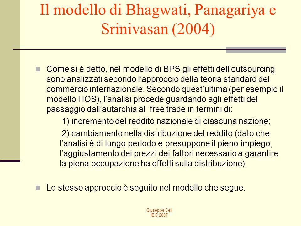 Giuseppe Celi IEG 2007 Il modello di Bhagwati, Panagariya e Srinivasan (2004) Come si è detto, nel modello di BPS gli effetti delloutsourcing sono analizzati secondo lapproccio della teoria standard del commercio internazionale.