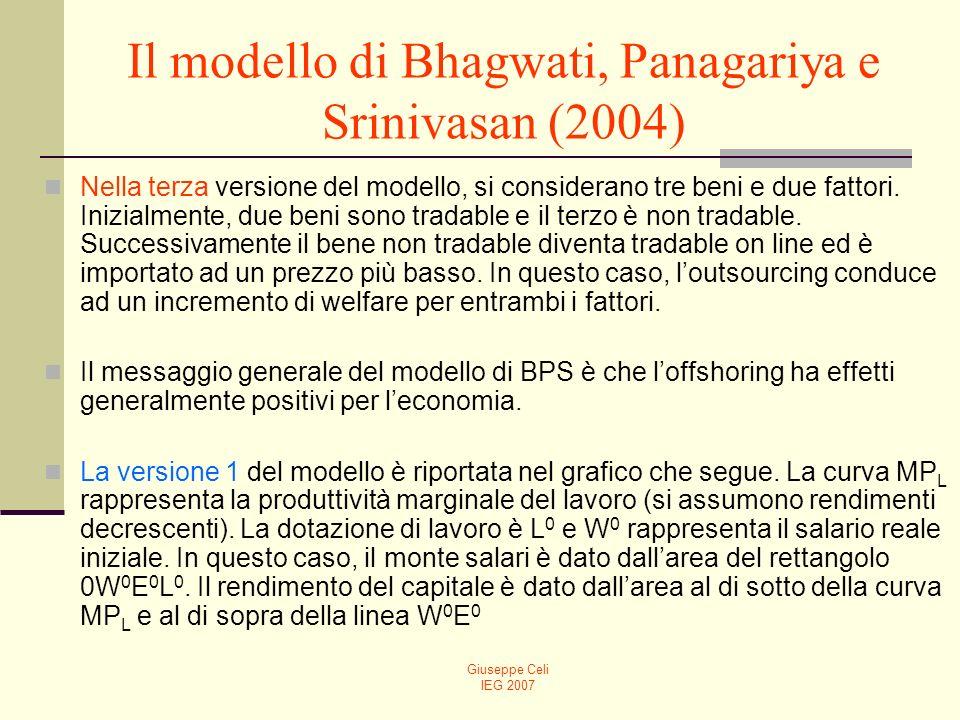 Giuseppe Celi IEG 2007 Il modello di Bhagwati, Panagariya e Srinivasan (2004) Nella terza versione del modello, si considerano tre beni e due fattori.