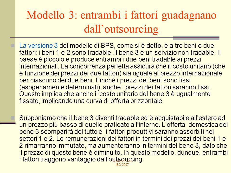 Giuseppe Celi IEG 2007 Modello 3: entrambi i fattori guadagnano dalloutsourcing La versione 3 del modello di BPS, come si è detto, è a tre beni e due fattori: i beni 1 e 2 sono tradable, il bene 3 è un servizio non tradable.