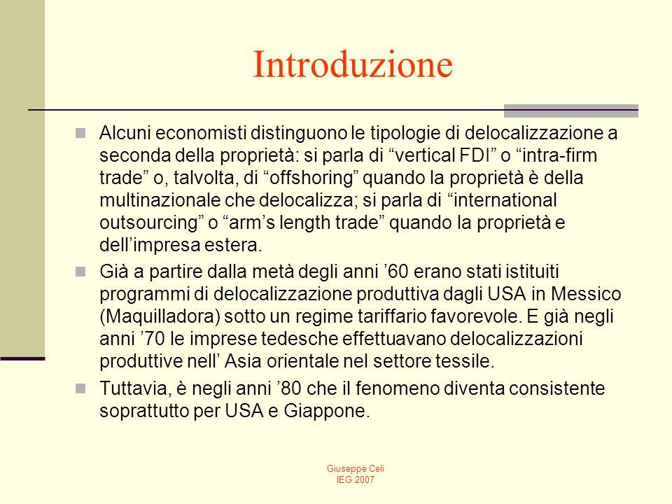 Giuseppe Celi IEG 2007 Il nuovo paradigma Il diagramma che segue è molto simile a quello precedente, solo che adesso la competizione in Europa avviene tra task e non tra settori.