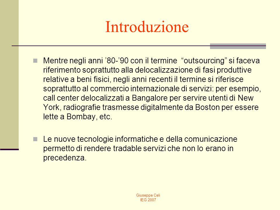 Giuseppe Celi IEG 2007 Introduzione Nella presente lezione, dopo un chiarimento sulla definizione di outsourcing secondo il WTO, passeremo a considerare alcuni schemi analitici che descrivono i possibli effetti delloutsourcing sul reddito nazionale, sui salari e sulla distribuzione del reddito.