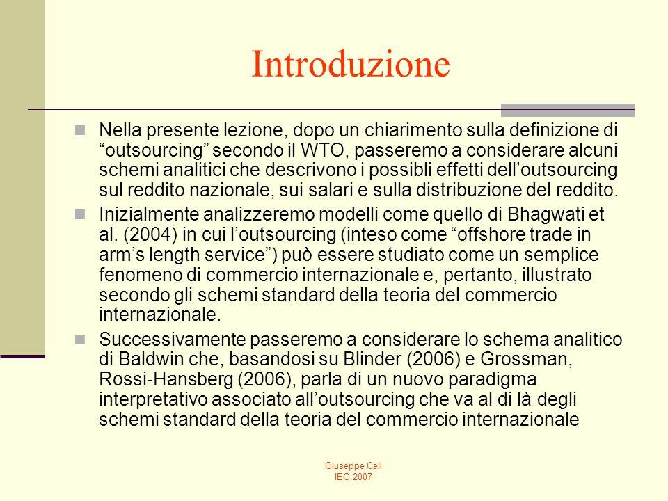 Giuseppe Celi IEG 2007 Vantaggi delloutsoucing in presenza di commercio (2)