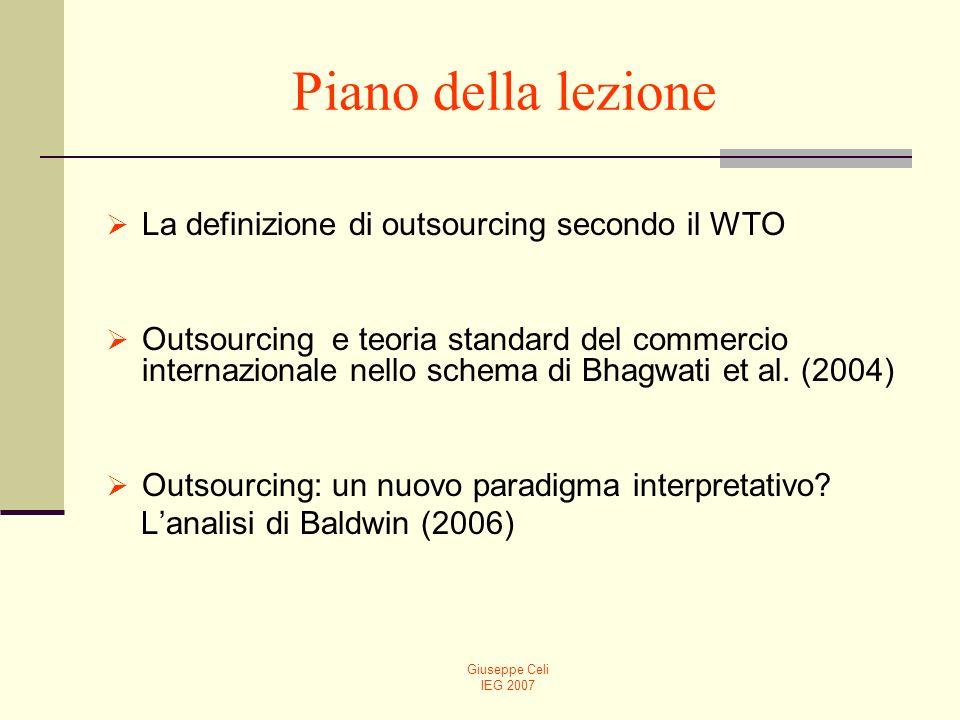 Giuseppe Celi IEG 2007 La definizione di outsourcing secondo il WTO Il WTO distingue 4 modalità in cui i servizi possono essere commerciati internazionalmente.