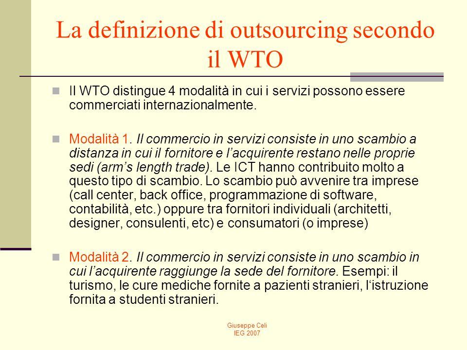 Giuseppe Celi IEG 2007 La definizione di outsourcing secondo il WTO Modalità 3.